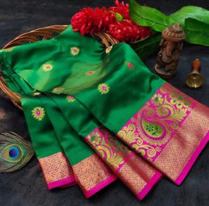 Green color soft lichi silk saree with rich pallu