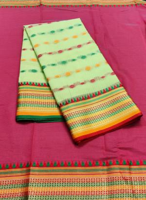 Pista green color drape kota doriya saree with jacquard border & thread butti