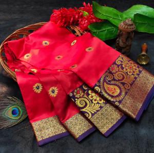 Red color soft lichi silk saree with rich pallu