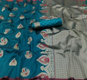 Rama green color lichi silk saree with zari weaving work & extra ordinary design