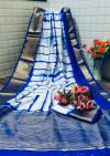 Blue color tassar silk saree with woven border