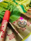 Green color Kota Silk Weaving Work saree