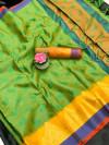 Green color Tansui silk Woven work Saree