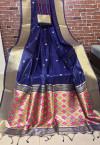 Blue color Handloom cotton weaving saree