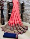Pink color Vichitra Silk Embroidered Saree