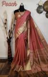 Peach color aasam Silk Zari woven work Saree