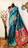 Handloom raw silk  Weaving Work Saree