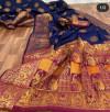 Blue color Pure Banarasi  weaving work saree
