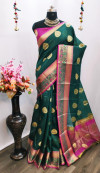 Pure Linen Silk weaving Work Saree