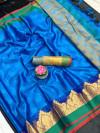 Blue color Tansui silk Woven work Saree