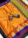 Yellow color Tansui silk Woven work Saree