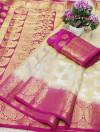 White color Nylon silk Weaving work saree
