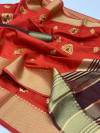 Maroon color Soft Raw silk embroidered work saree
