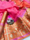 Pink color Kota Silk Weaving Work saree