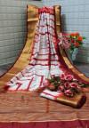 Maroon color  tassar silk saree with woven border