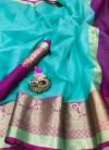 Blue color Kota Silk Weaving Work saree