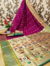 Magenta color paithani silk weaving work saree