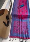 Handloom raw silk weaving saree with kalamkari  woven pallu