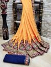 Orange color Vichitra Silk Embroidered Saree