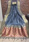 Gray color Handloom cotton weaving saree