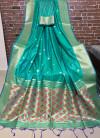 Rama green color Handloom cotton weaving saree