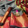 Gray color Kota Silk Weaving Work saree