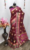 Pure Linen Silk weaving Work Saree