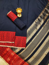Navy blue color Soft Linen silk weaving work saree