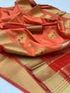 Peach color Soft Raw silk embroidered work saree