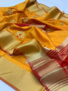 Yellow color Soft Raw silk embroidered work saree