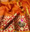 Orange color Kota Silk Weaving Work saree