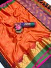 Orange color Tansui silk Woven work Saree