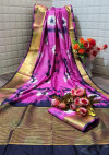 Pink color  tassar silk saree with woven border