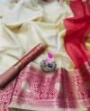 Off white color Kota Silk Weaving Work saree