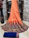 Peach color Vichitra Silk Embroidered Saree