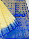 Blue color Nylon silk Weaving work saree