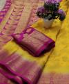Yellow color Nylon silk Weaving work saree