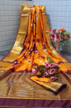 Yellow color  tassar silk saree with woven border