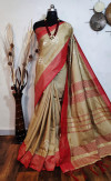 Red color Jute silk embroidered cut work Saree