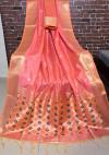Peach color Handloom cotton weaving saree