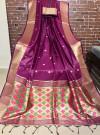 Wine color Handloom cotton weaving saree