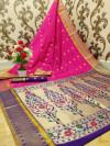 Pink color paithani silk weaving work saree