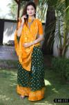 Bandhani Silk With Zari Waving Work Saree