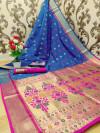Blue color paithani silk weaving work saree