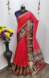 Red Color Cotton Silk Weaving Work Saree