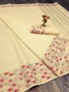 Off White Color Soft Linen silk weaving work saree