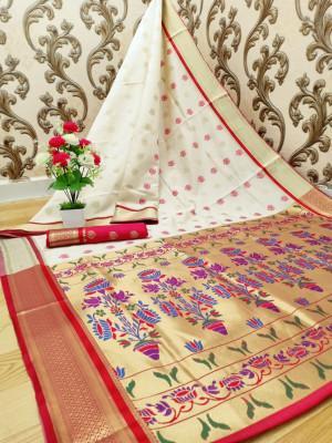 Off white color paithani silk weaving work saree