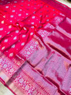 Pink color soft kanchipuram silk saree with silver zari weaving work