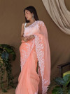 Peach color organza saree with threads & sequence work