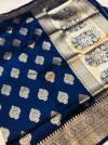 Navy blue color kanchipuram silk handloom saree with zari woven work